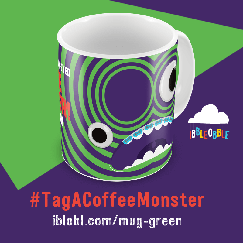 Googly Eyed Coffee Monster Green
