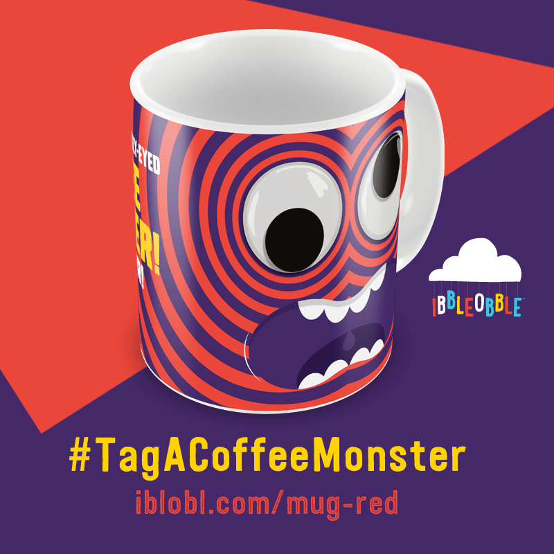 Googly Eyed Coffee Monster Red