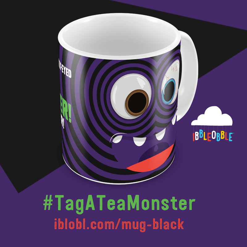 Googly Eyed Tea Monster Black