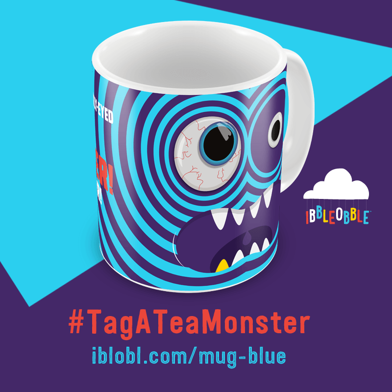 Googly Eyed Tea Monster Blue