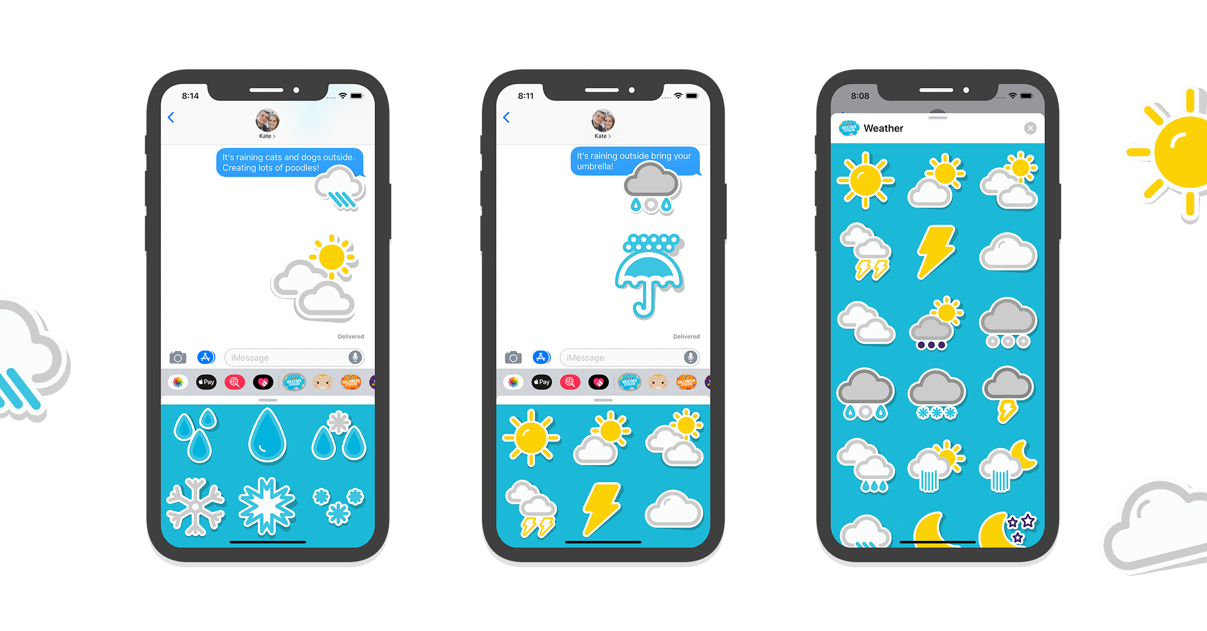 Bright and breezy Weather stickers for iMessage